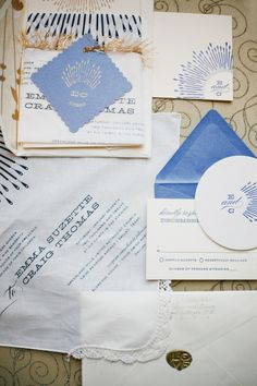 blue and gold wedding invitations by CheerupCherup // photo by AprylAnn.com