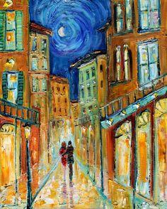 Original oil painting New Orleans Romance Night Moon palette knife modern texture fine art impressionism by Karen Tarlton