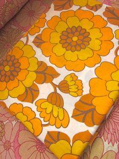 Vintage 1970s floral fabric