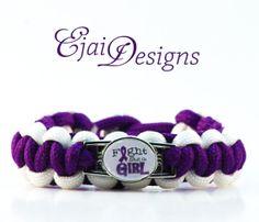 ... Arnold Chiari ADHD Purple Ribbon Awareness Paracord Charm Bracelet