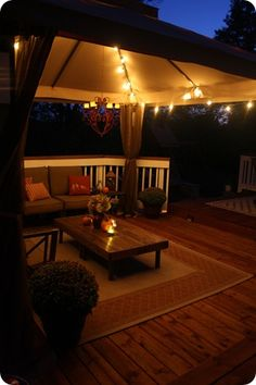 Outdoor room deck idea... looks just like my deck right now... looks like all i need is to start decorating!