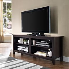 """Wood TV Stand for TVs up to 60"""", Multiple Finishes"""