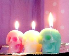 skulls, pastel, goth, decorating ideas, candles, skeleton, rainbow colors, skull candl, halloween