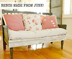 Bench made entirely from junk.  Check out how to build a bench from stuff you can find for free, including the soft pad!  Cece Caldwells's Vermont Slate and CeCe Caldwell's Vintage White REDOUXINTERIORS.COM FACEBOOK: REDOUX