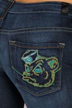 OCJ Apparel | Premium Collegiate Denim | Baylor Bears Skinny Jeans Sailor Bear in Deep Indigo | www.ocjapparel.com