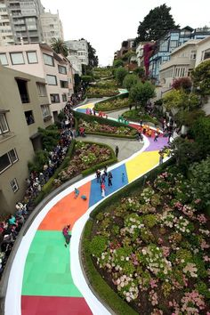 Playing Candyland on Lombard St. - San Francisco, CA