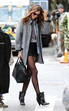 winter accessories, mirandakerr, jacket, miranda kerr, girl fashion, ankle boots, street styles, street style fashion, black
