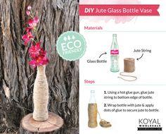 bottl recycl, bottl vase, diy jute, craft idea, wine bottles, craft project, glass bottl, bridesmaid idea, coke bottle diy