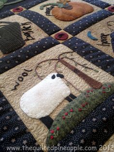 patchwork, craft, quilt pineappl, gather summer, summer freebi, appliqu wool, primitive quilts, primitive gatherings, primit gather