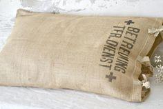 vintage military burlap pillowcase