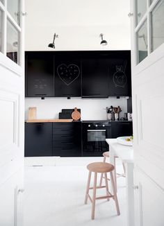 painted kitchens, scandinavian kitchen, black cabinets, black kitchens, chalkboard cabinet