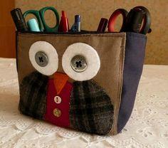 Owl fabric pencil holder
