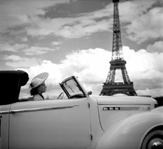 At the wheel of a Chrysler. Paris, 1938
