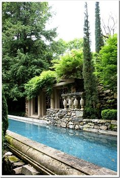 stone swimming pool, hidden space.