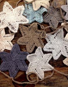 knit garland, knitting patterns, holiday garland, crochet, star garland, luxuri holiday, christmas trees, knit patterns, christmas stars
