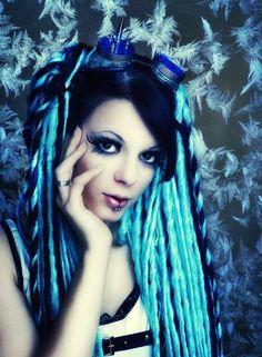 blue and black hair falls
