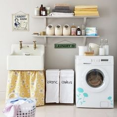 laundry room. I'm liking the flower decals on the machine :)