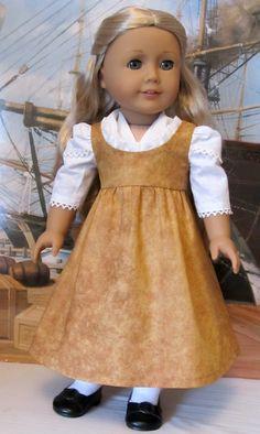 "Regency Dress,Pinafore & Fichu, Made to Fit 18"" American Girl Doll Caroline, An Original Keepers Design"