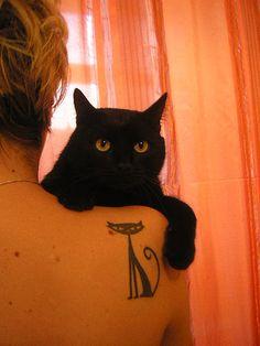 tattoo idea, anim, funni, cat tattoos, black cats