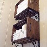 crate and bracket shelves for the bathroom morningbymorningproductions