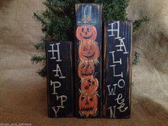 Primitive Rustic Happy Halloween Pumpkin Stack Shelf Sitter Wood Block Set #PumpkinStack