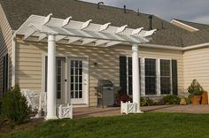 Easy DIY weekend project. Pergola attached to existing structure.