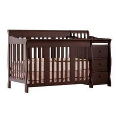 Stork Craft Portofino 4-in-1 Fixed Side Convertible Crib and Changer Espresso