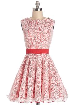 Elaborate Effort Dress. Tonights party is bound to be an amazing occasion, from the dinner-from-scratch to the DIY bunting, so show off your style as well as your skills in this red and white lace dress!  #modcloth