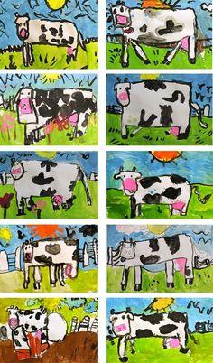cow art, big letters, art lessons, kindergarten drawings, art idea, farm for kindergarten, farm unit, oil pastels kindergarten, art projects