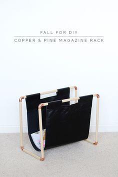 DIY: copper and pine magazine rack