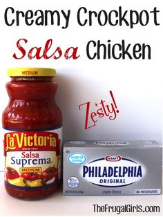 Crockpot Salsa Chicken Recipe  4 -5 Boneless, Skinless chicken breasts {thawed} 16 oz. of your favorite Salsa, or make Easy Homemade Salsa 8 oz. Cream Cheese {softened} 1 cup Shredded Cheddar Cheese Optional Add-in: 1 can of corn {drained} Optional Add-in: 1 can of black beans {drained}