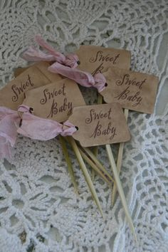 "CUPCAKE TOPPERS- ""Sweet Baby"" - baby shower,  tea party, buffet table - set of 12. $14.95, via Etsy."