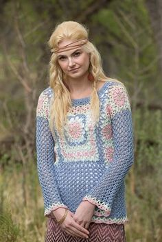 Crochet lace motifs are joined as you go before additional lace is added to create a retro top. Trixie Tunic