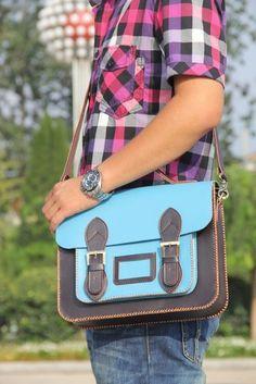 Handmade Genuine Leather Satchel / Messenger Bag / Backpack - Light Blue with Ink Blue