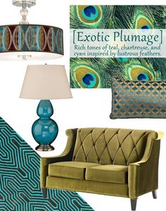 Exotic Plumage - tones of teal, chartreuse, and cyan shimmer with the essence of lustrous peacock feathers. Get the look at home by introducing furniture, lighting, and home decor that boasts iridescent finishes, richly saturated jewel tones, and organic details.