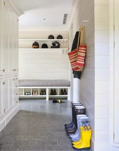 Very nice example of a mudroom.  Wettling Architects