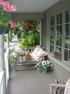 interior design, country porches, window box, hanging plants, colors, patio, flowers, front porches, hanging pots