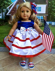 6pc Patriotic Party Dress Clothes for Saige McKenna or Any American Girl Doll | eBay patriot dress, party dresses, costumes, evening gowns, dress clothes, juli dress, american girl doll patriotic, ag dolls, parti dress