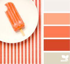 Color: Chilled Summer by Design Seeds - white, peach, orange, dark orange, light grey.