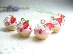 Mini Strawberry Cupcake Stitch marker (Set of 5). $8.85, via Etsy.
