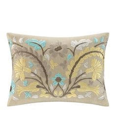 Loving this Tan Floral Throw Pillow on #zulily! #zulilyfinds
