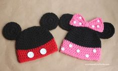 Dress your newborn in Mickey and Minnie Crochet Hats. The crochet instructions are specifically for newborns, but gives tips on how you can make them bigger.