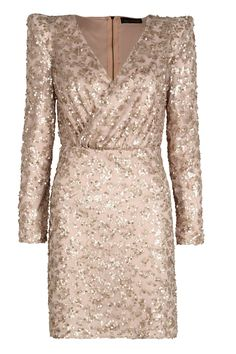 Boutique Amy Sequin Wrap Padded Shoulder Dress//