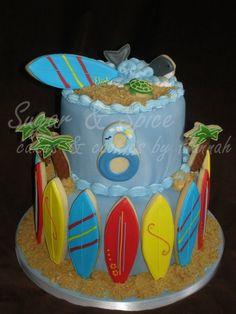 Cute beach-themed cake