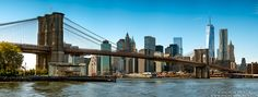 Panoramic Skyline of the Brooklyn Bridge and Lower Manhattan by Photographer Andrew Prokos