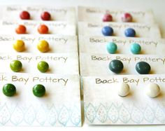 Simple Ceramic Stud Earrings - Set of 2 - Choose Your Colors - 32 Colorful Choices - Ready to Ship. $30.00, via Etsy.
