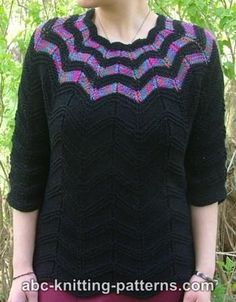 Free Knitting Pattern - Women's Sweaters: Falling Stars Top Down Sweater
