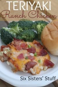 Six Sisters Teriyaki Ranch Chicken Recipe on MyRecipeMagic.com. So easy and very tasty! #sixsistersstuff chicken low carb, chicken breasts, chicken recipes, teriyaki ranch chicken, low carb recipes chicken, six sisters stuff, dinner tonight, ranch dressing, green onions