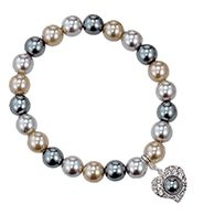 Sweet Pearlesque Bracelet $9.99  Faux-pearl stretch bracelet. Silvertone heart with faux-pearl and rhinestone accents. One size fits most. Call to order