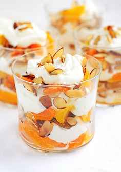 Parfait with honey whipped cream, oranges and toasted almonds - looks so good!